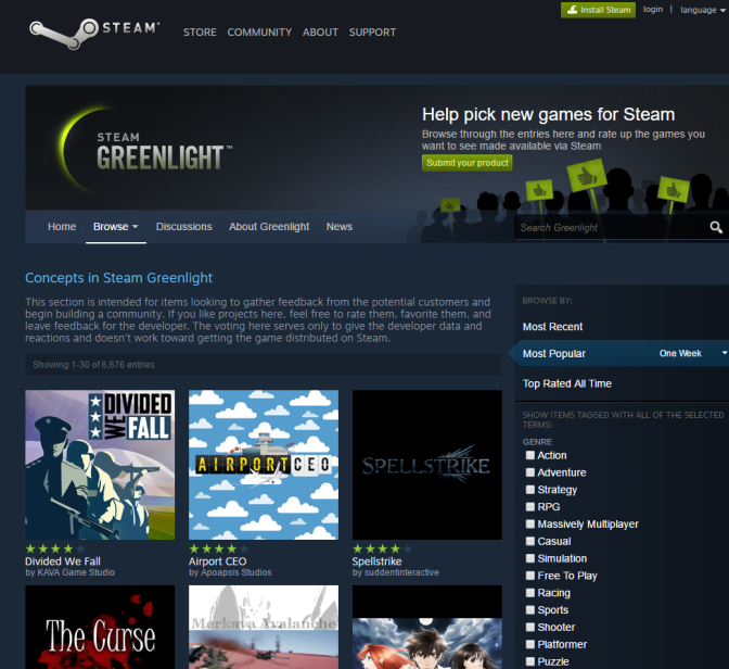 The Steam Greenlight Concepts page